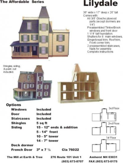 Lilydale Smooth Dollhouse Kit - Click Image to Close