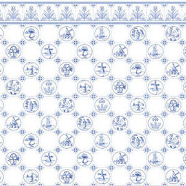Wallpaper Dutch Tile Blue On White Jm06 3 00
